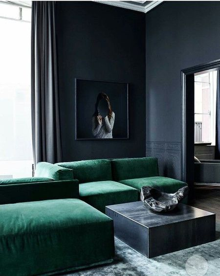 Black Living Room With Green Sofas