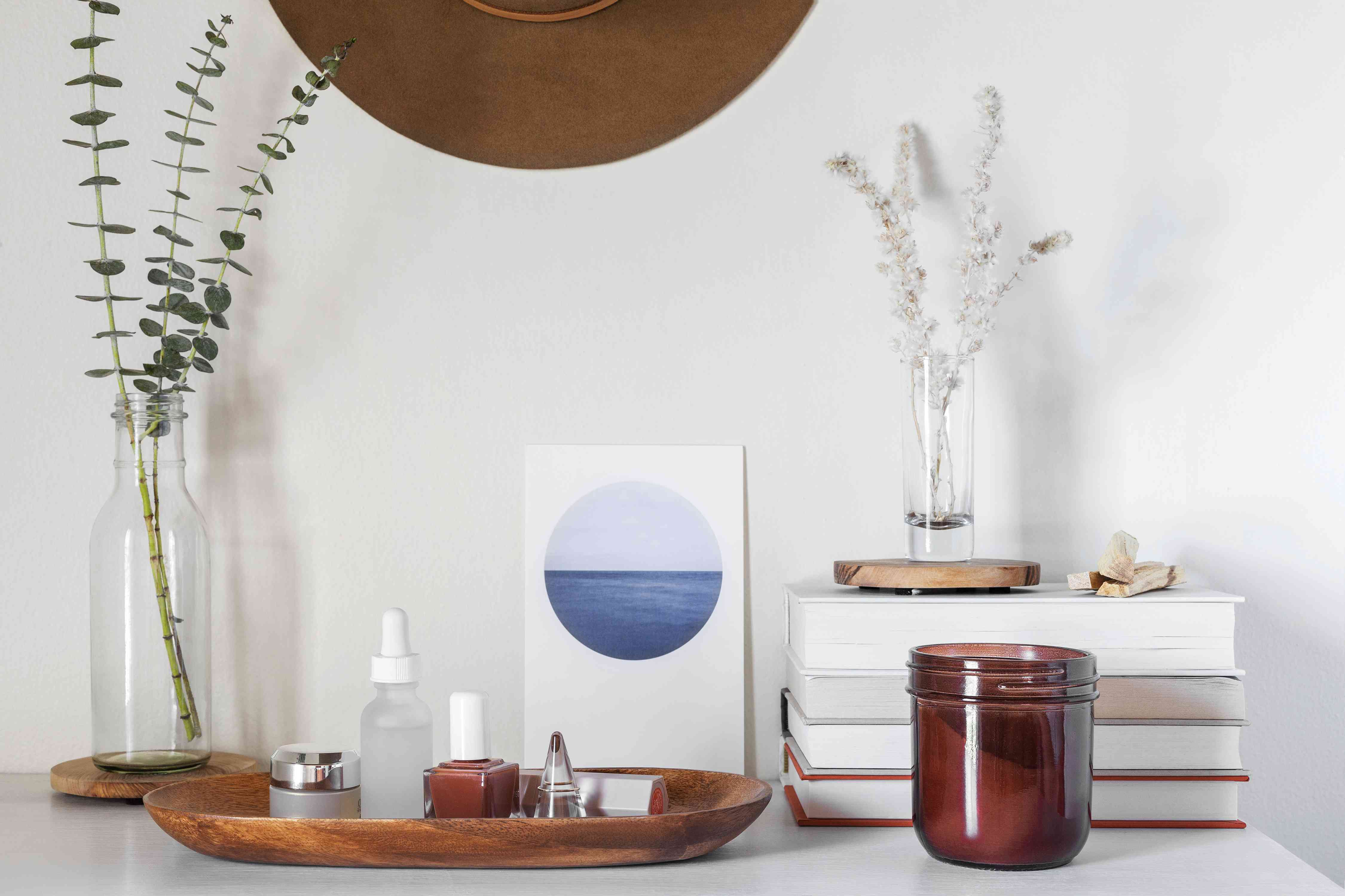 balance of items on a dresser top
