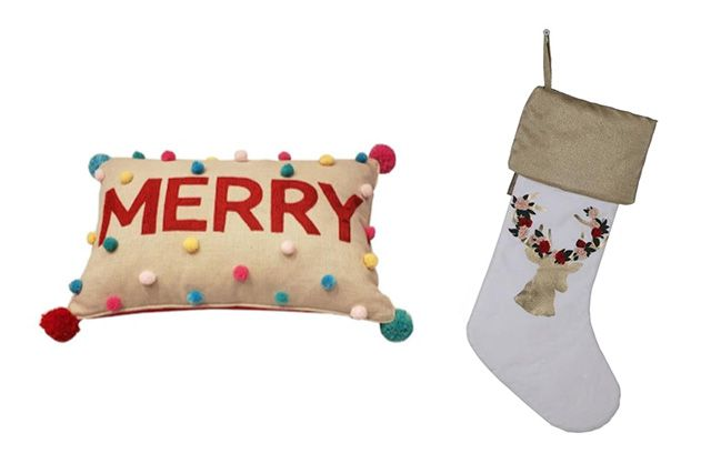 Pillow with Merry in red multicolored pom poms & white christmas stocking