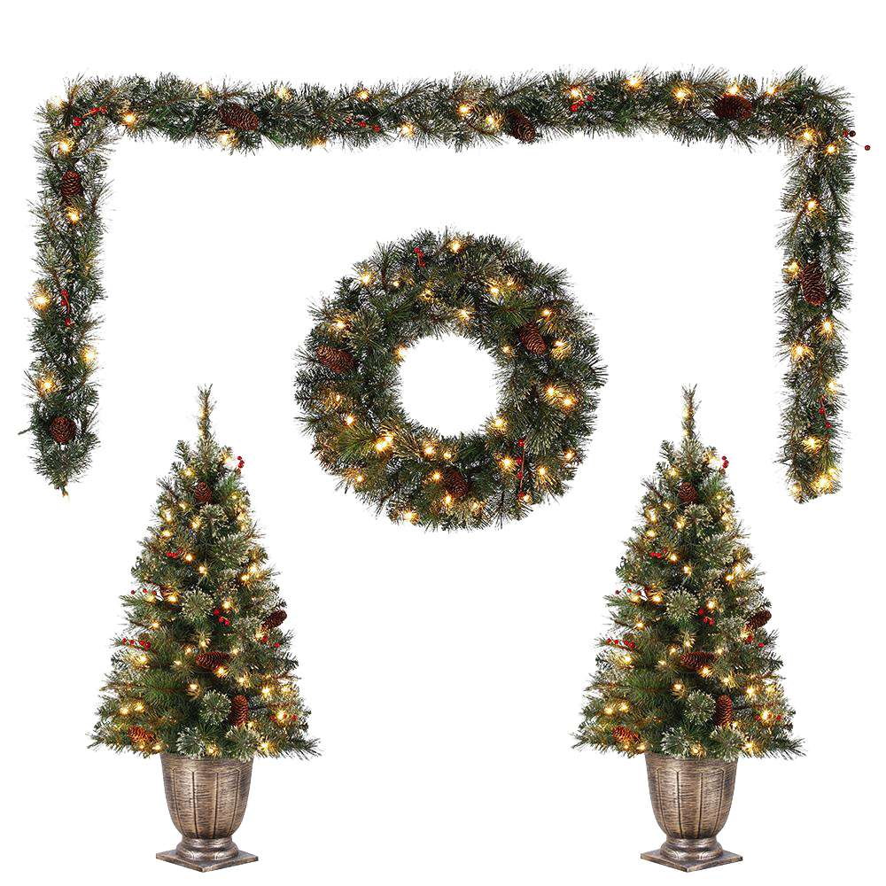 Holiday Living Garland and 2 tree set with white lights