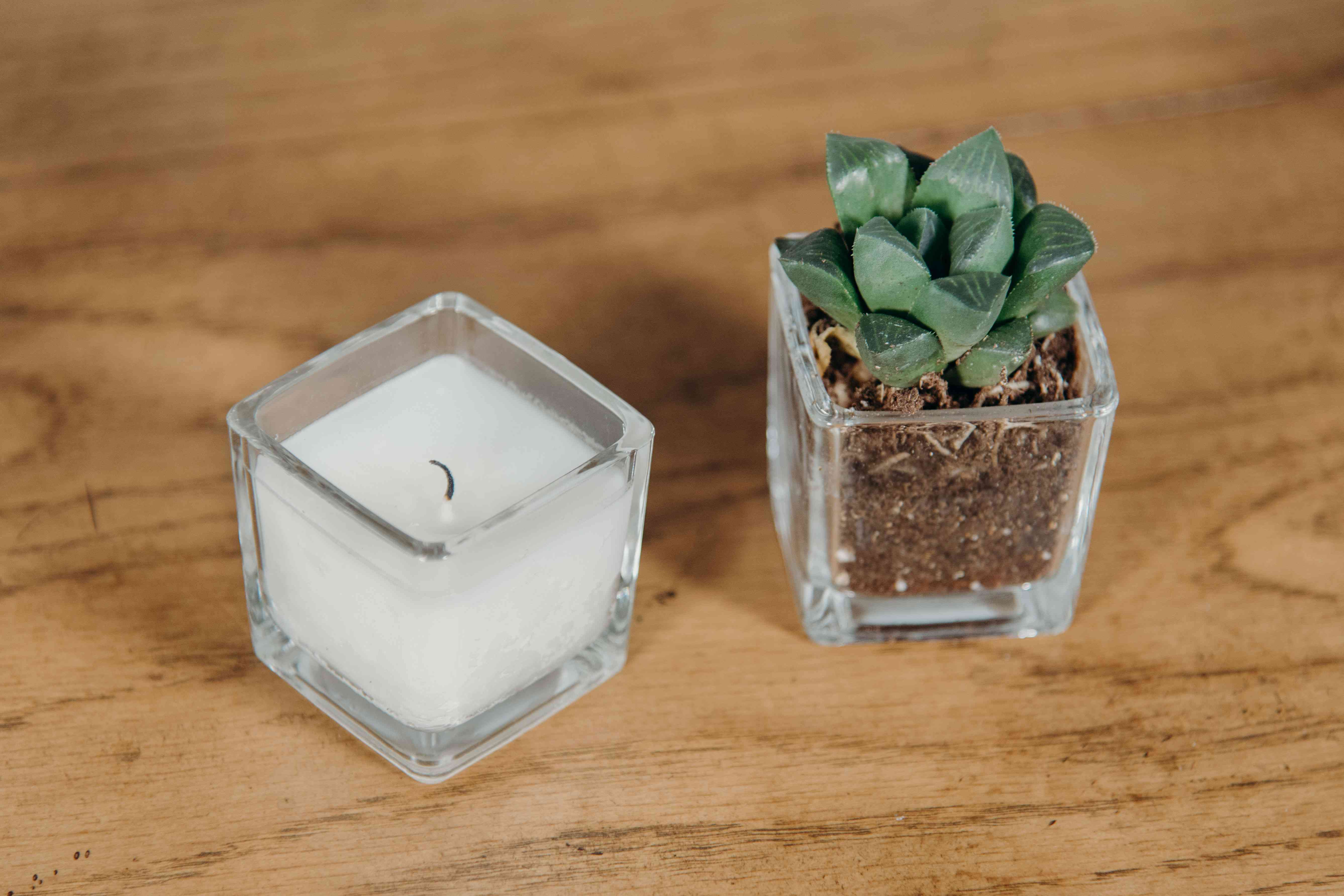 Candle next to empty candle votive with succulent