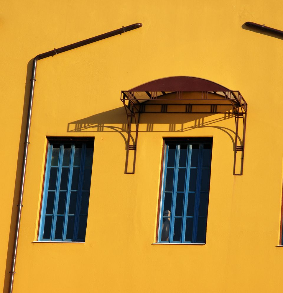Low angle view of a yellow building