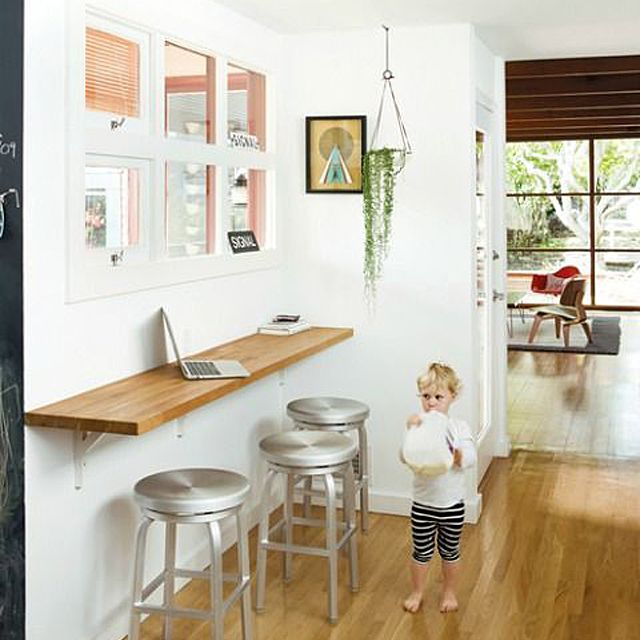 Simple wall shelf doubles as workbench or homework station
