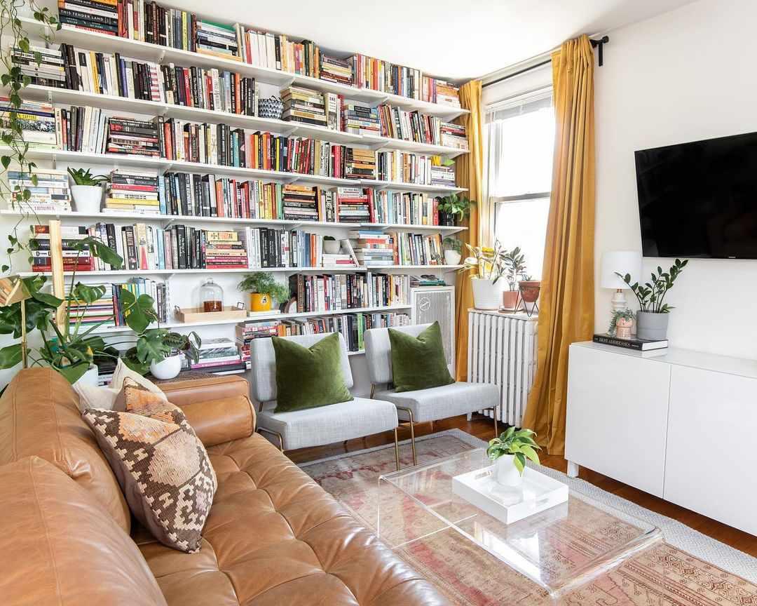 bookshelves in maximalist living room