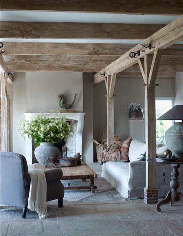 Natural elements in Belgium designed living room