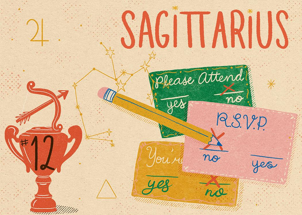 sagittarius zodiac politeness illustration