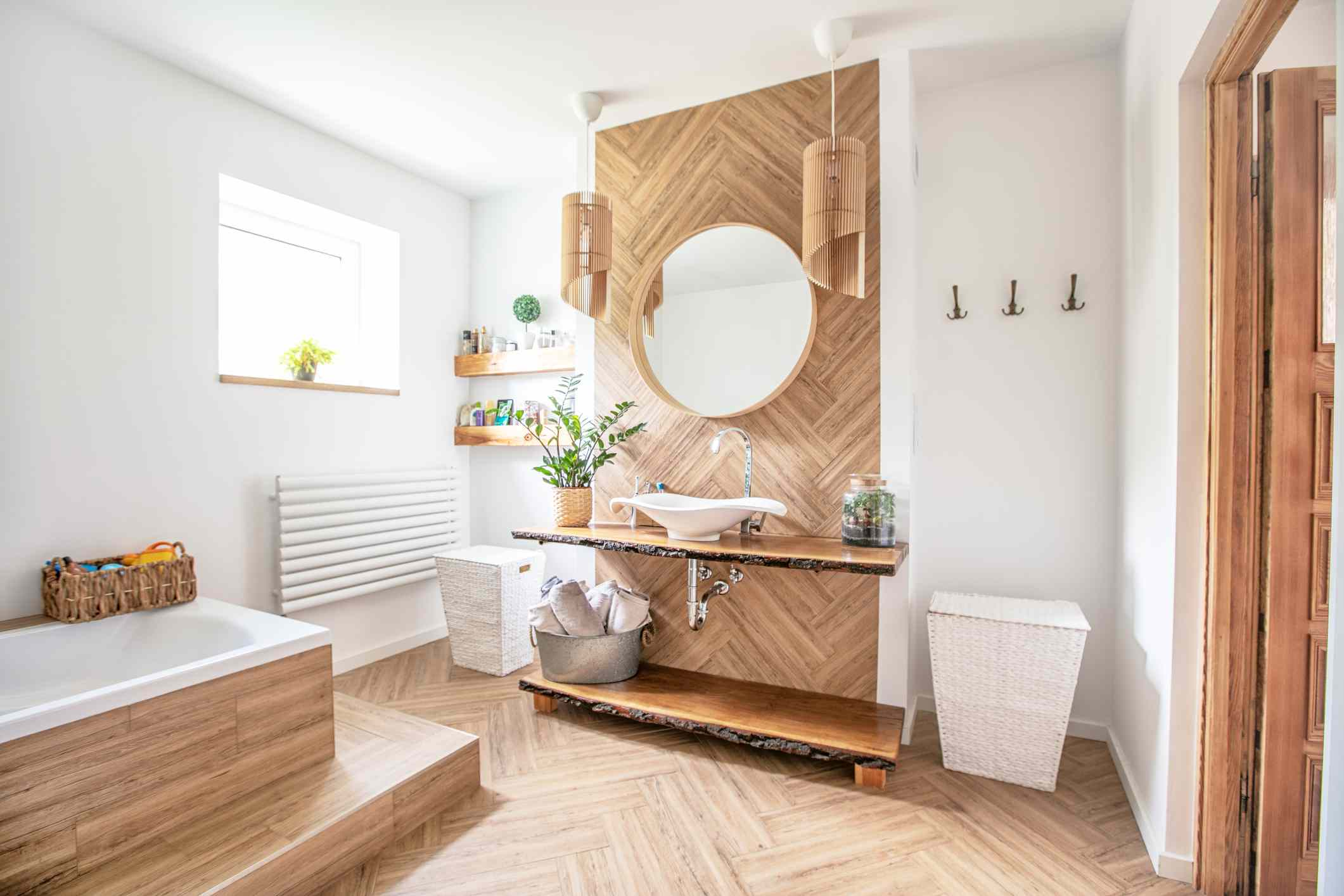 bathroom with wood accents