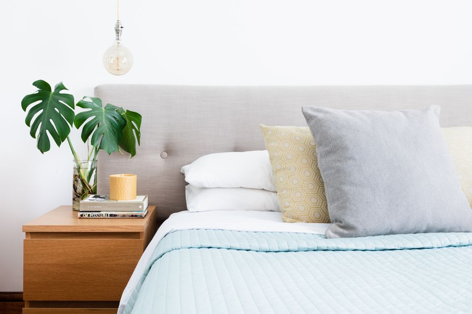 Made bed with pillows on top next to night stand with houseplant in glass vase
