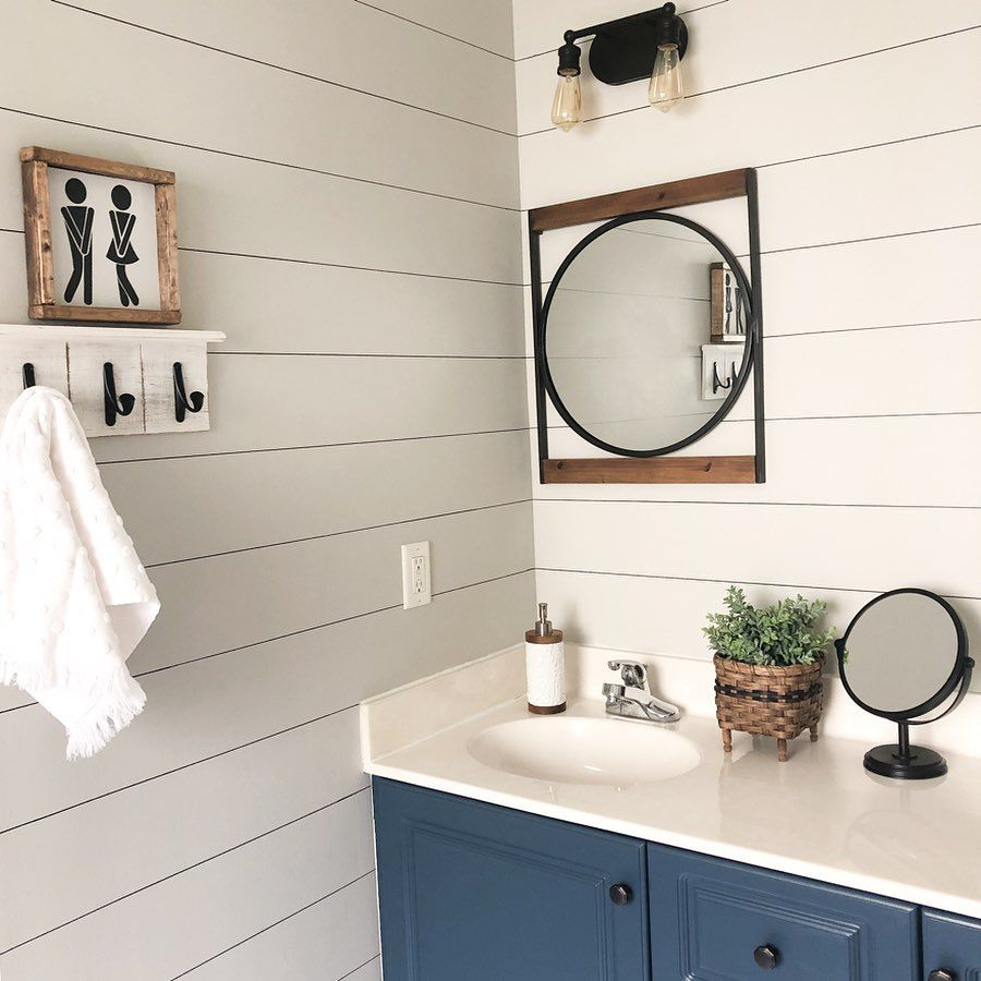 Bathroom with shiplap on the walls