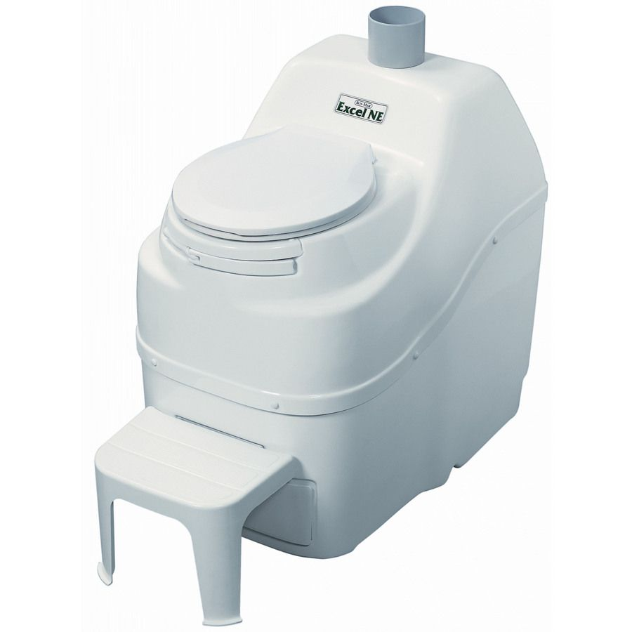 Sun-Mar Excel non-electric White Touchless Flush Round Custom Height Composting Toilet 4