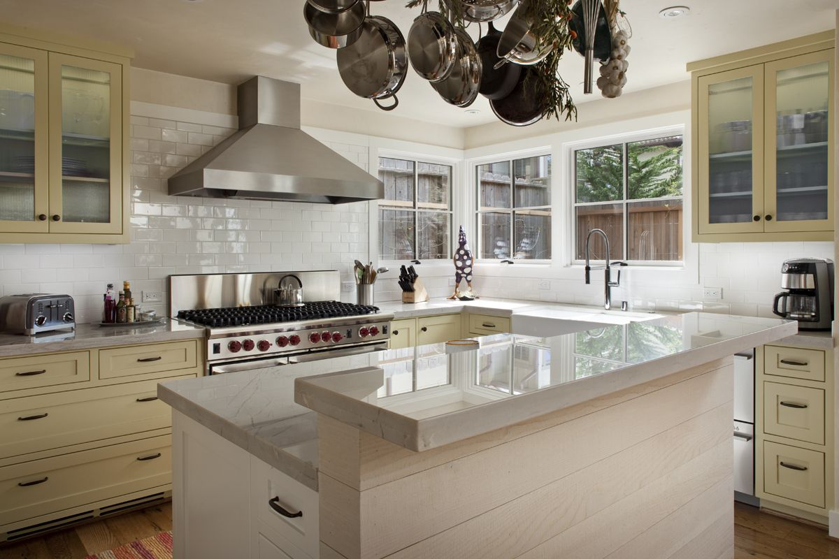 pale yellow cabinetry in kitchen