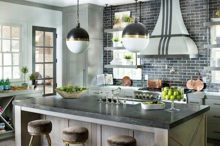 Pietra Gray Honed Marble Kitchen Island