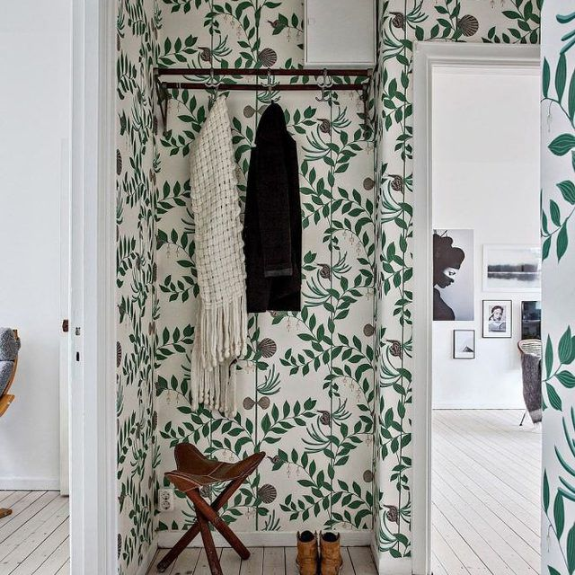 Botanical Wall Covering in Hallway