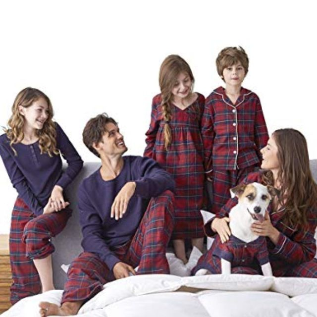 best overall sesy family pajamas matching set in red plaid