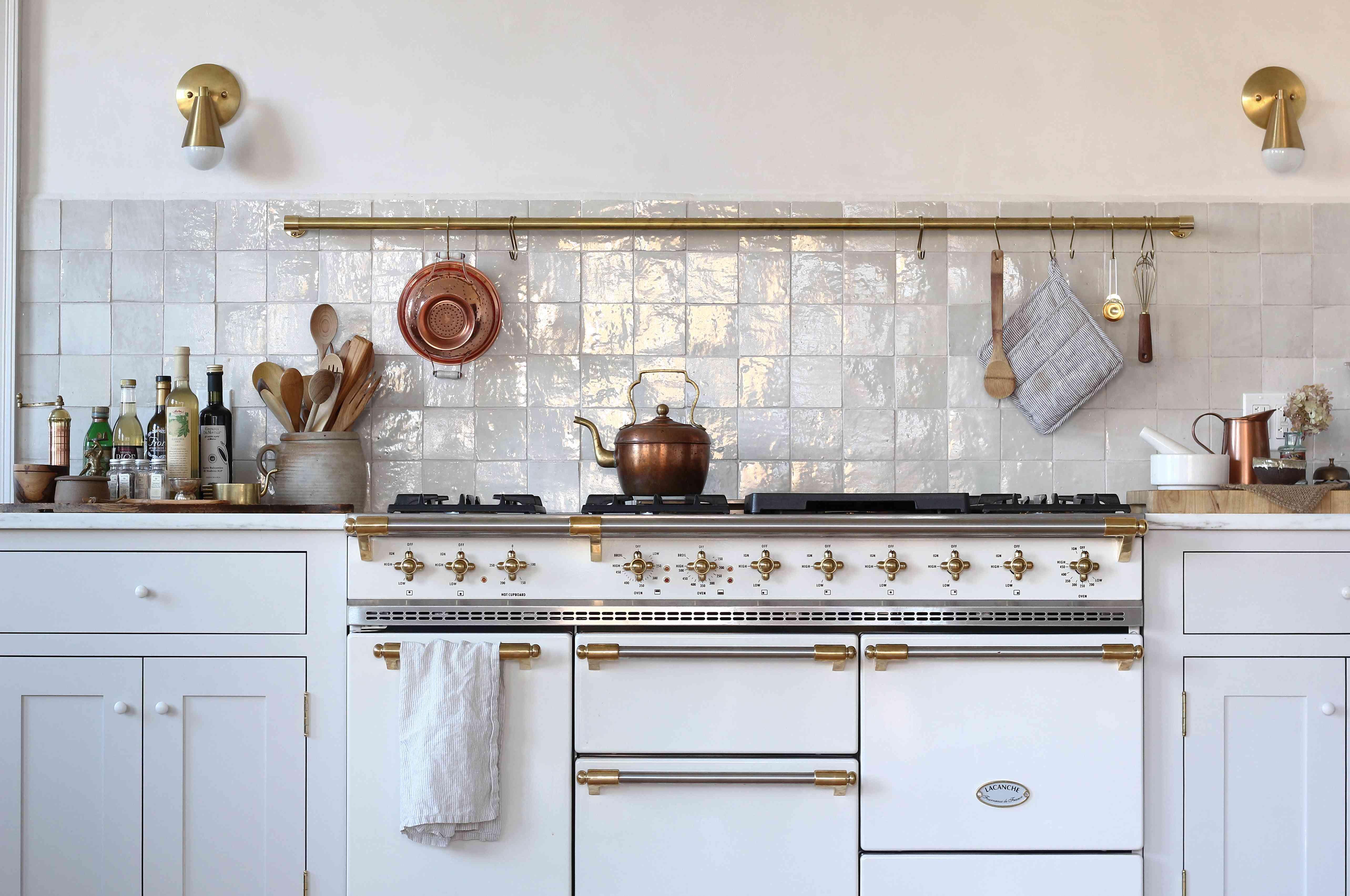 Opalescent tile backsplash