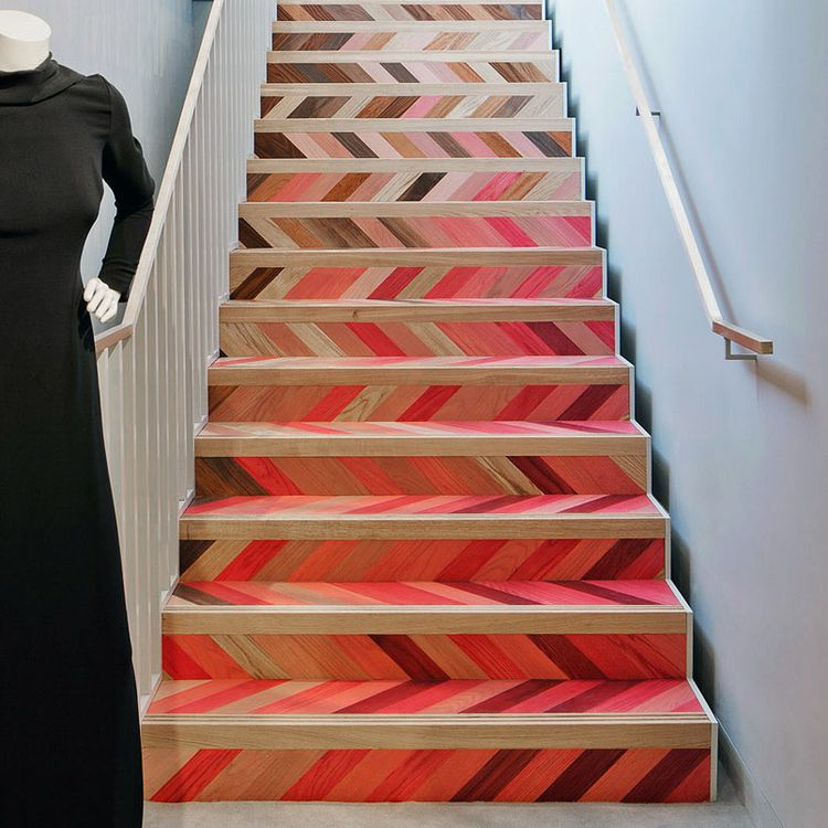 bright pink painted wood stairs