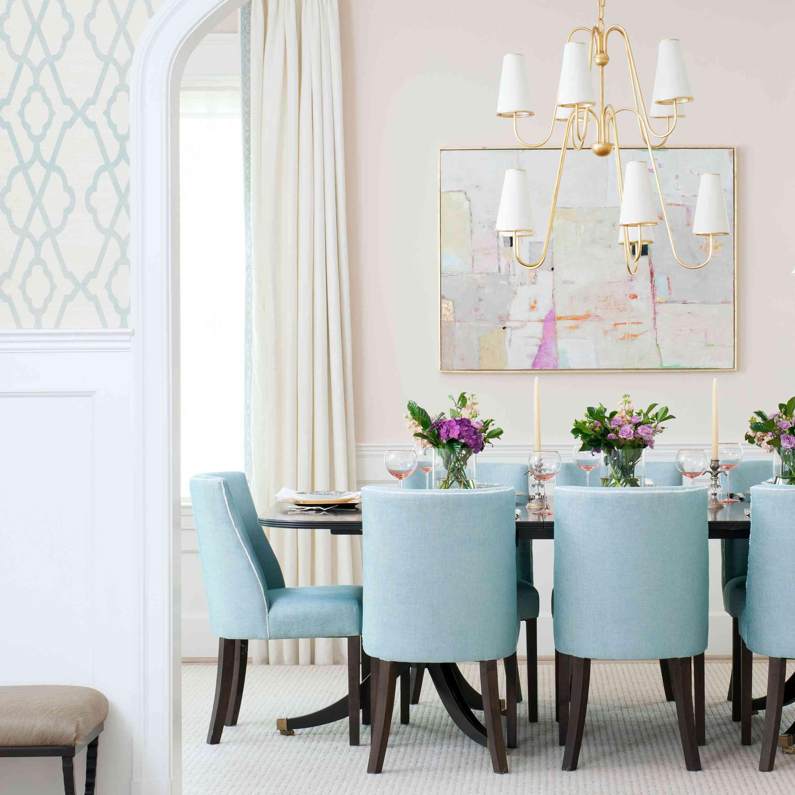 pink dining room walls