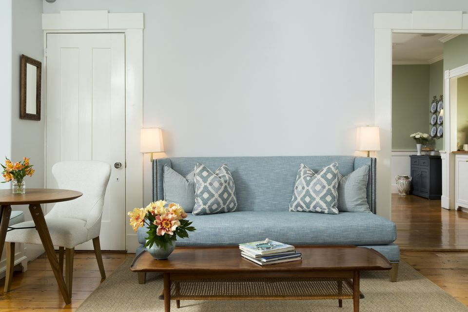 Blue midcentury sofa in living room