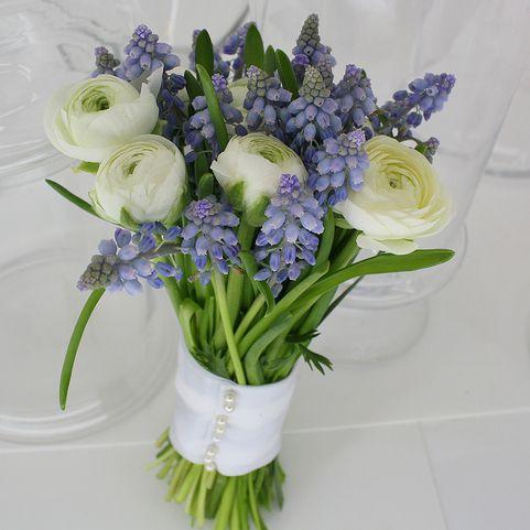 Ranunculus and Grape Hyacinth Bouquet