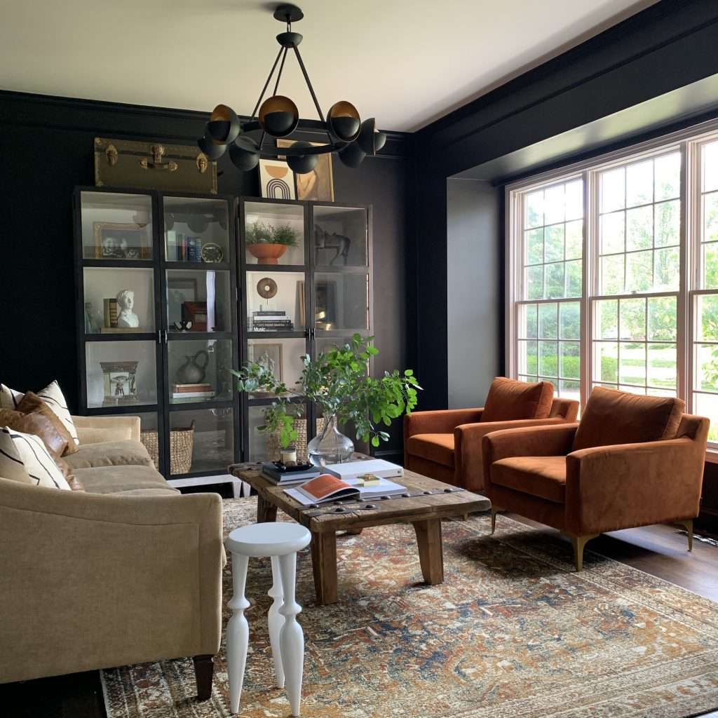rust tones paired with black walls