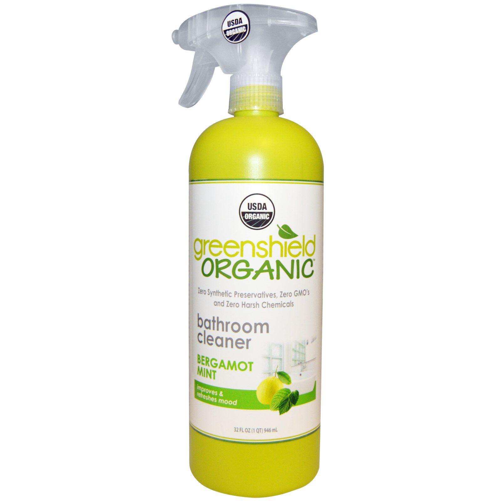 A bottle of Greenshield Organic bathroom cleaner