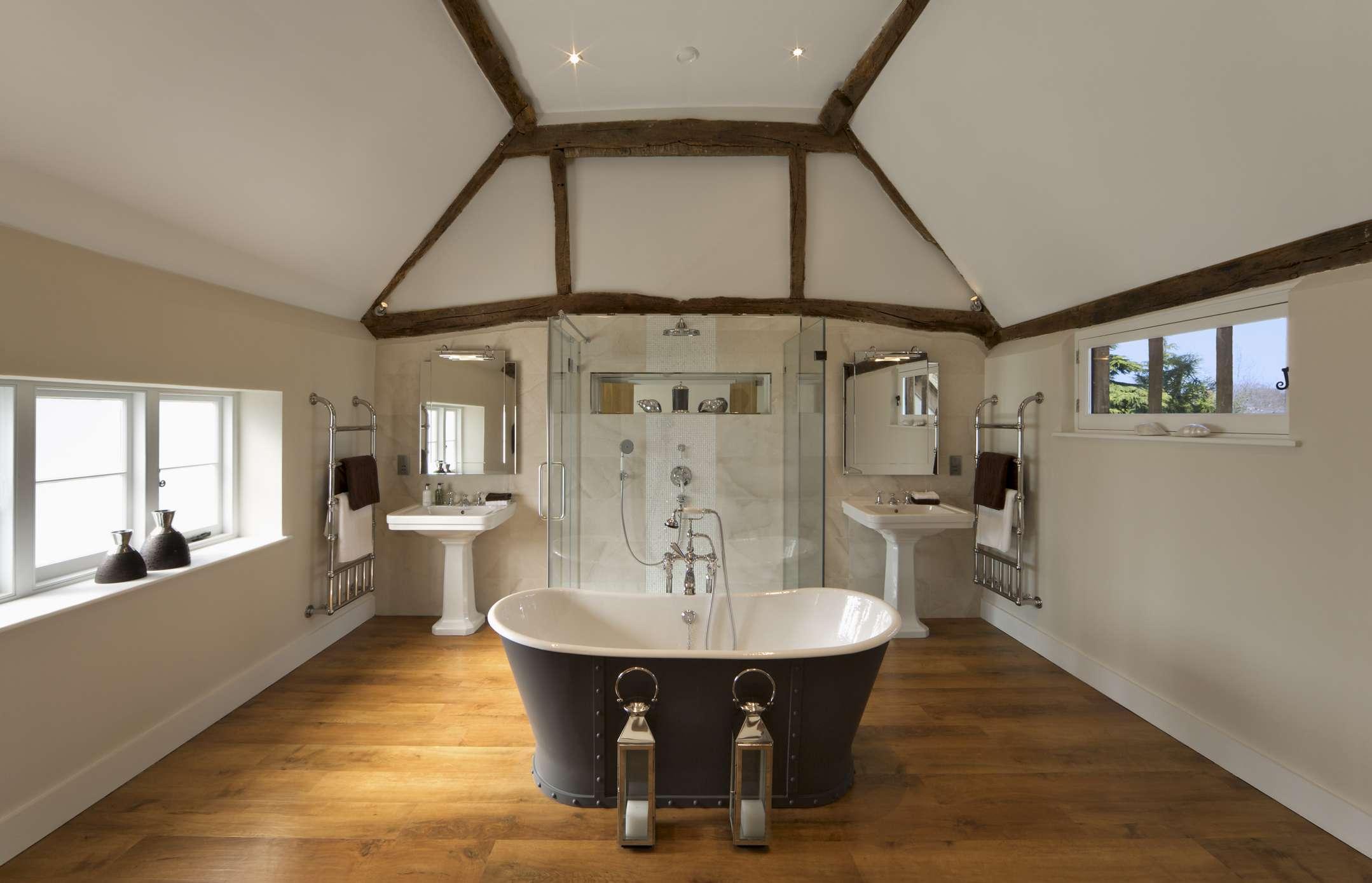 Modern bathroom in old farmhouse