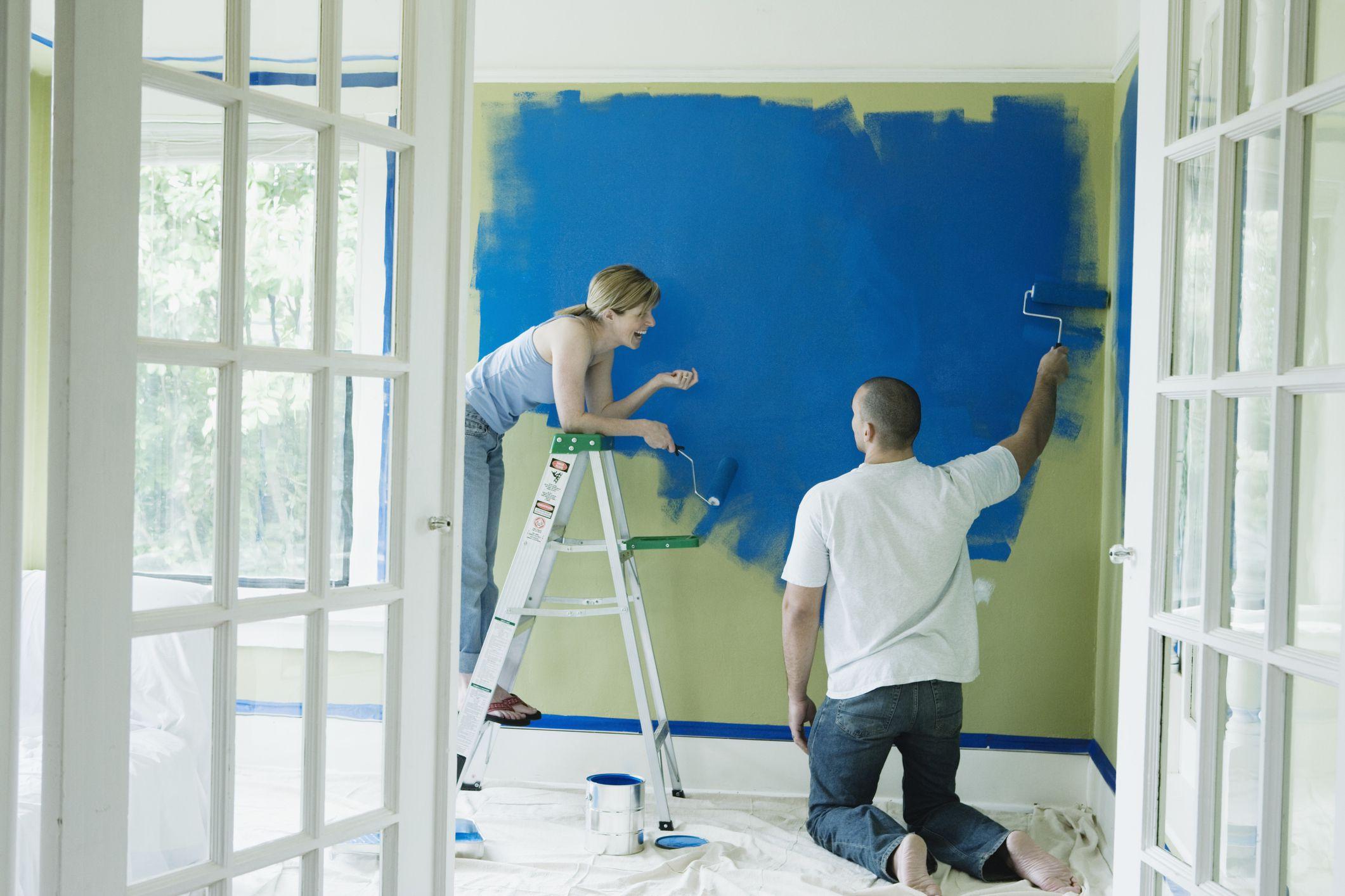 should you paint or trim walls first. Black Bedroom Furniture Sets. Home Design Ideas