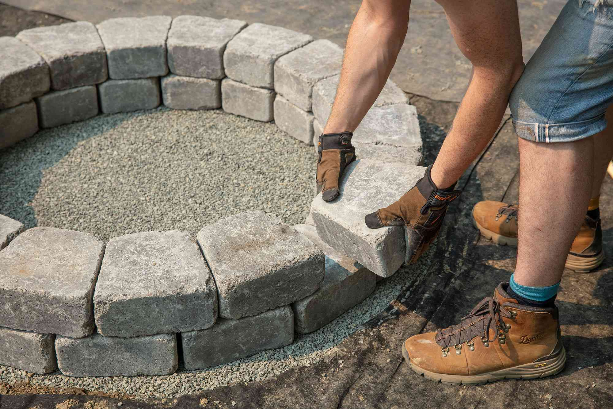 Second set of tier blocks added in staggered manner for fire pit