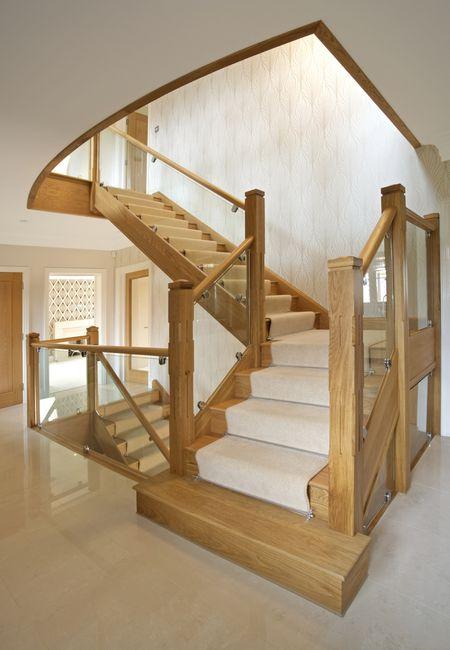 Modern Stair Runner On Light Wood