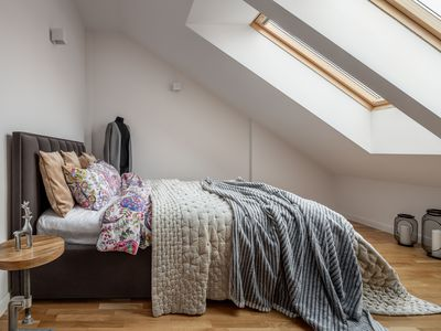 Attic bedroom with double bed