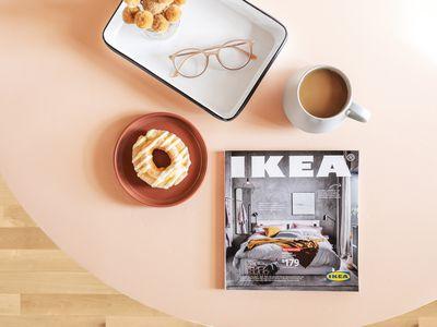 Ikea catalog on a tabletop