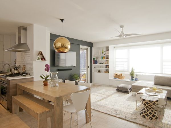 living kitchen dining room with neutral colors