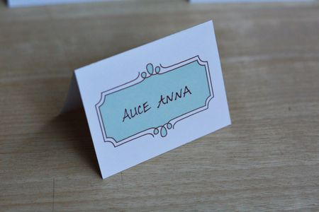 A Blue And White Place Card