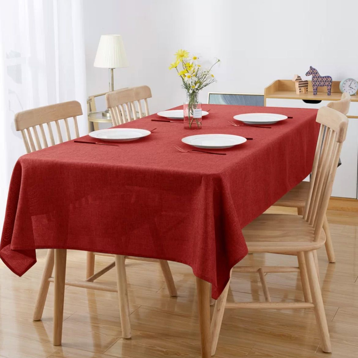 Red Anastasio Solid Color Linen Tablecloth