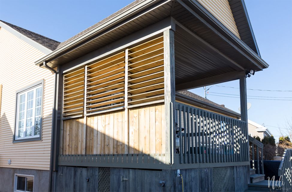 An outdoor privacy screen on a deck