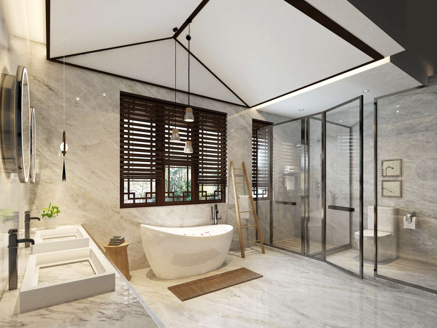 Industrial touches in a contemporary bathroom