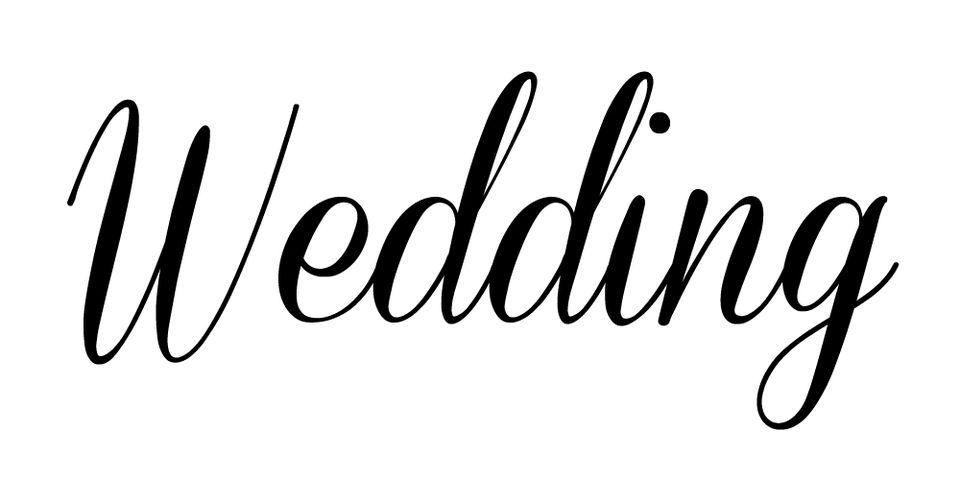 """Wedding"" in the free wedding font Coneria Script"