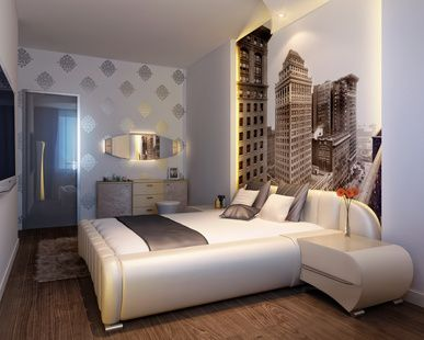 Eclectic Bedroom With Cityscape