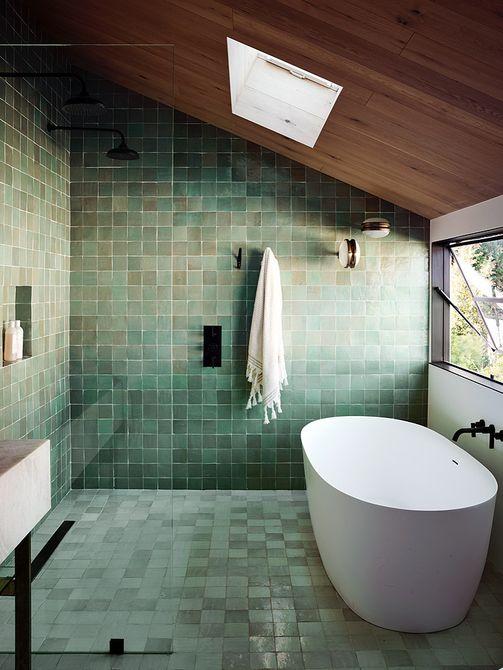 Azulejo de ducha verde