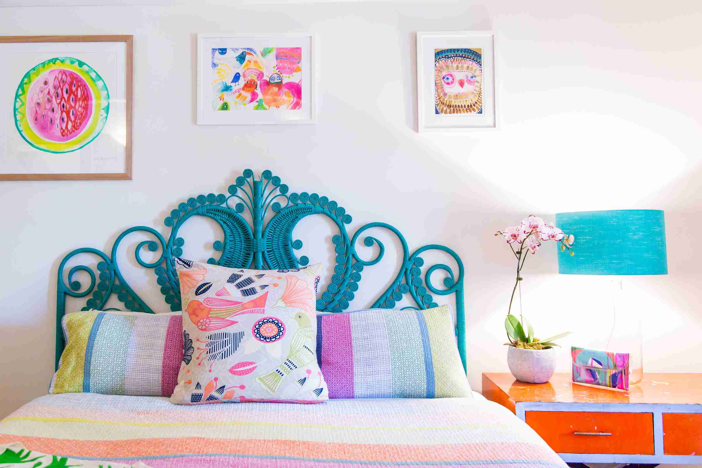 Bedroom filled with color