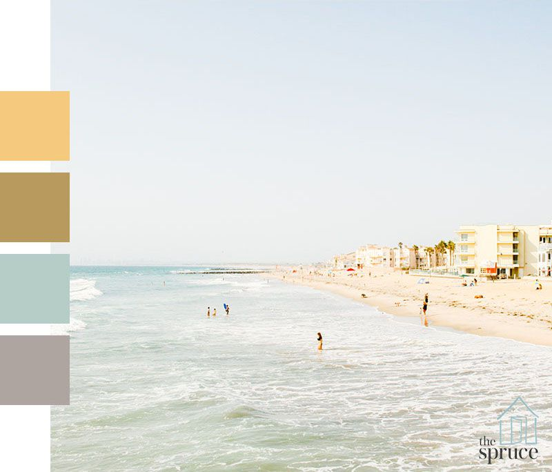A beach with four color swatches to the left of the image