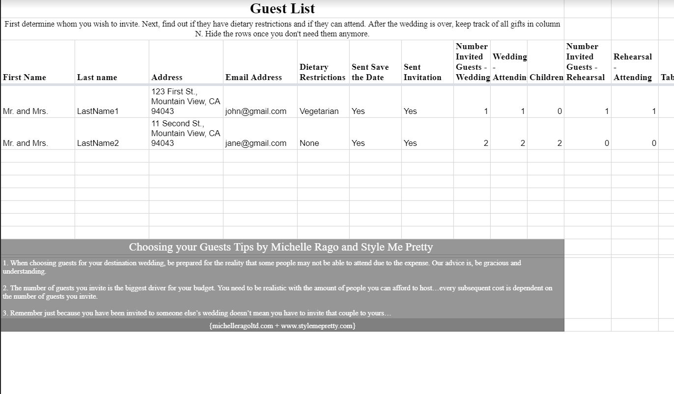 A Wedding Guest List Template Open In Google Docs