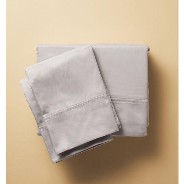 A set of gray bed sheets