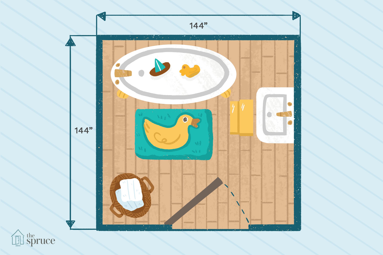 "Illustration of simple bathroom floor plan for kids measuring 144""x144""."
