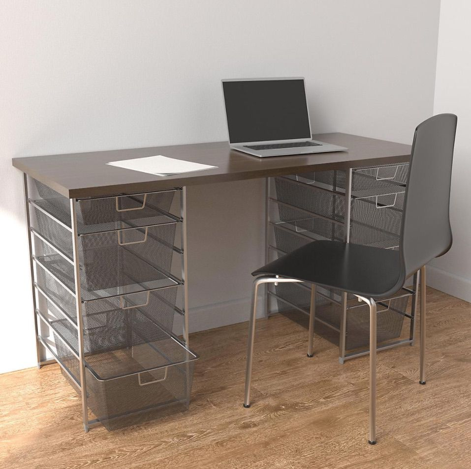 Elfa Platinum & Driftwood Desk with Double Drawers