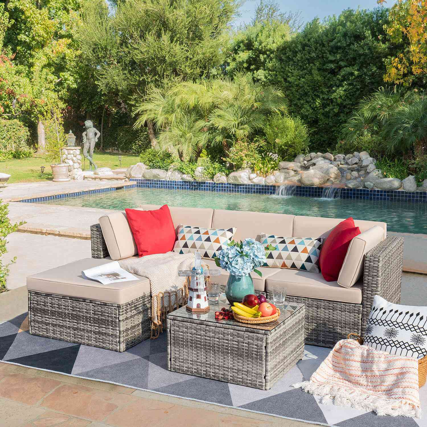 Red Agaran 5 Piece Rattan Sectional Seating Group with Cushions See More by Latitude Run®