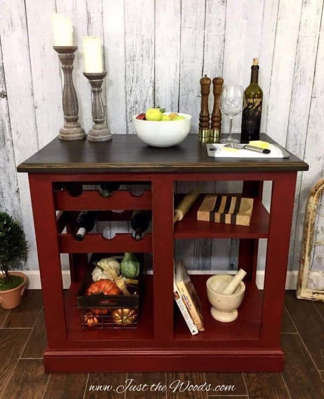 kitchen island painted red