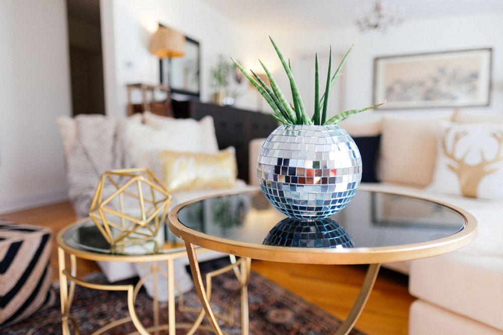 A retro disco ball planter