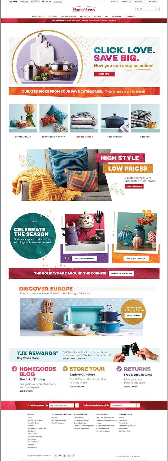 HomeGoods online store homepage