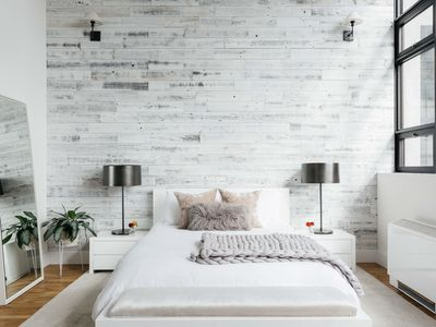 white washed rustic bedroom